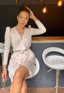 Ivory Leopard Satin Long Sleeve Wrap Dress