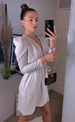 Load image into Gallery viewer, Ivory Leopard Satin Long Sleeve Wrap Dress