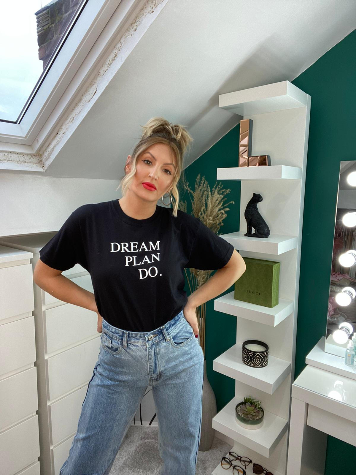 Dream Plan Do Black Slogan Tshirt