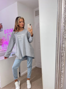 Dream Plan Do Slogan Sweat Tunic In Grey