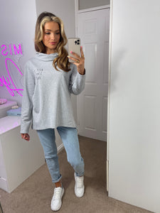 Keep It Simple Babe Cowl Neck Slogan Sweat Tunic In Grey