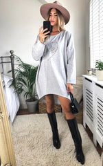 Load image into Gallery viewer, Leopard Love Heart Slogan Sweat Dress In Grey