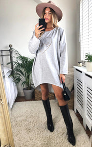 Leopard Love Heart Slogan Sweat Dress In Grey