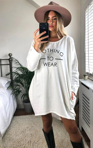 Nothing To Wear Slogan Sweatshirt Dress In Ivory