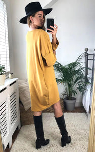 Overdressed Slogan Sweat Dress In Mustard