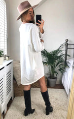 Load image into Gallery viewer, Oversized Sweatshirt Dress In Ivory