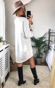 Oversized Sweatshirt Dress In Ivory