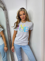 Load image into Gallery viewer, Pastel Love Slogan Tee In Grey