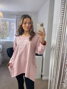 Dream Plan Do Slogan Sweat Tunic In Pink