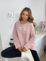 Load image into Gallery viewer, Dream Plan Do Slogan Sweat Tunic In Pink
