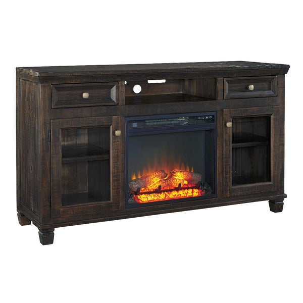 Wooden Brown T.V stands with fireplace