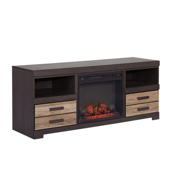 Contemporary Wooden Brown T.V stands with fireplace