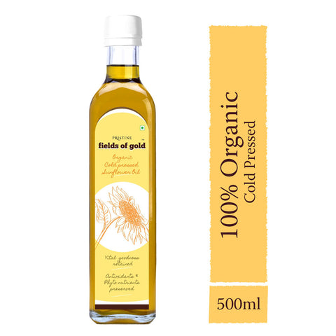 PRISTINE Fields of Gold Organic Cold Pressed Sunflower Oil ,500  ml Glass Bottle