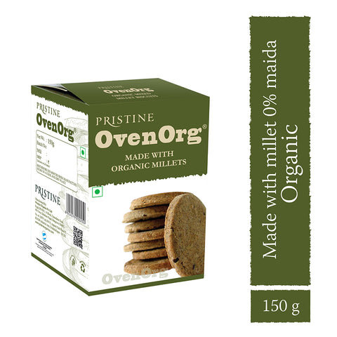 PRISTINE OvenOrg  Organic Mixed Millet Biscuits, 150 g ( Pack of 2)