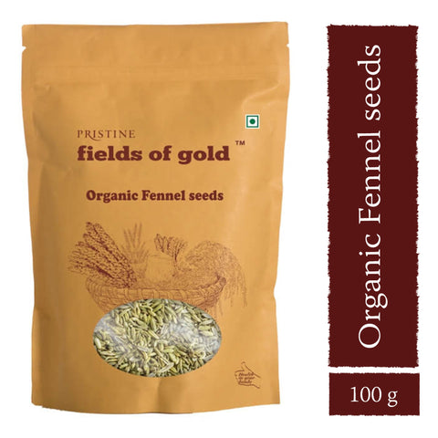 PRISTINE Fields of Gold Organic Fennel Seeds ,100 g Pack of 3