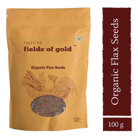 PRISTINE Fields Of Gold Organic Flax Seeds, 100 g Pack of 3
