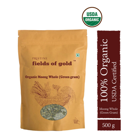 PRISTINE Fields of Gold Organic Moong Whole Green gram, 500 g Pack of 2