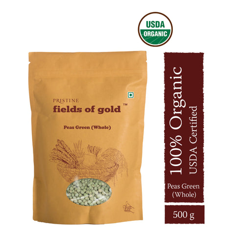 PRISTINE Fields of Gold Organic  Peas Green Whole , 500 g Pack of 2