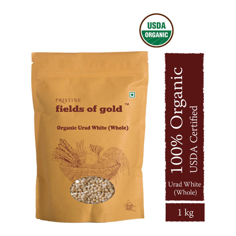 PRISTINE Fields of Gold Organic Urad White Whole  ,1 kg