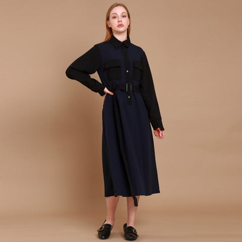 shirt long dress[navy]