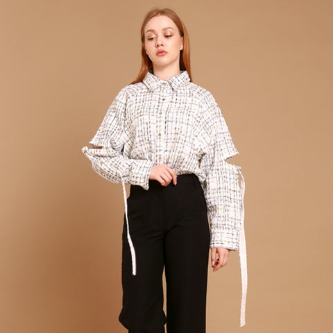 tweed cord incision raglan blouse