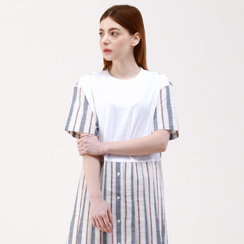 cotton-linen stripe color dress - MAKE