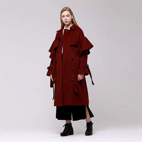 handkerchief sleeve wool trench coat - MAKE