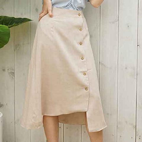 to2-linen midi skirt beige - MAKE