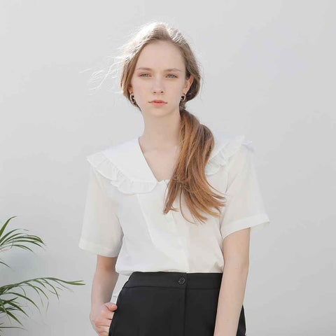 frill sailor shirt white - MAKE