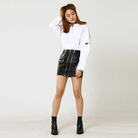 fake leather string mini skirt - MAKE