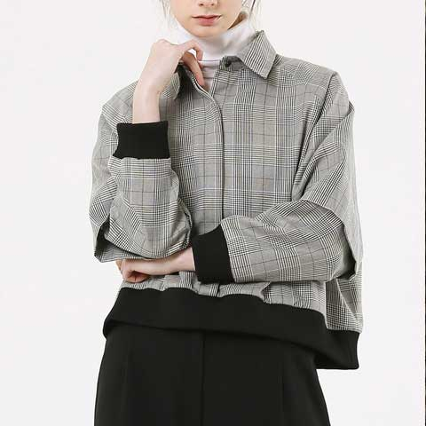 cape-sleeve cropped glen check blouse - MAKE