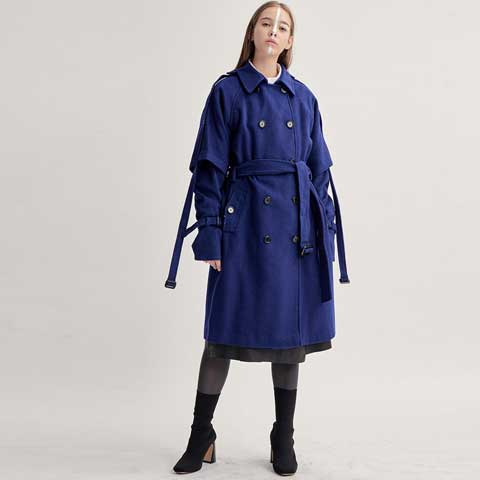 cashmere cape-sleeve oversized string trench coat - MAKE