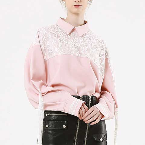oversized lace pink string blouse - MAKE