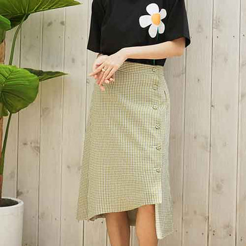 to2-linen midi skirt green - MAKE