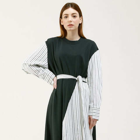 stripe color unbalance long dress - MAKE