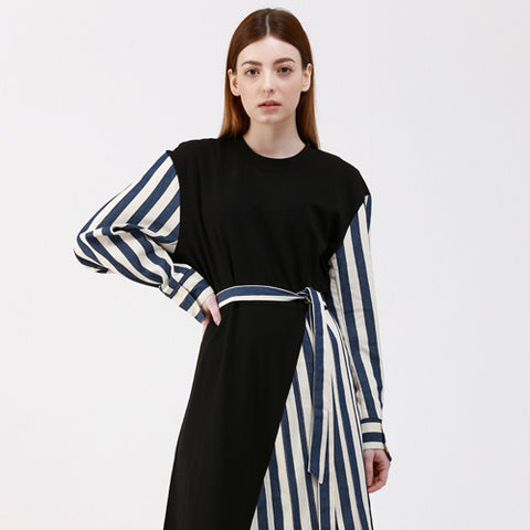 denim stripe color unbalance long dress - MAKE