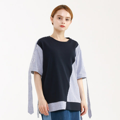 sleeve-string t-shirt - MAKE