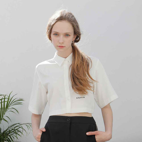 back slit crop shirt white - MAKE