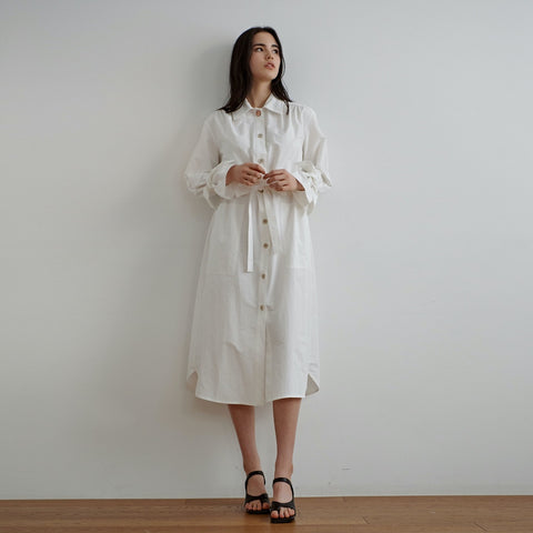 shirring belted trench - MAKE