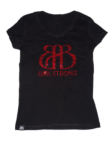 BAB V Neck Tee Black & Red