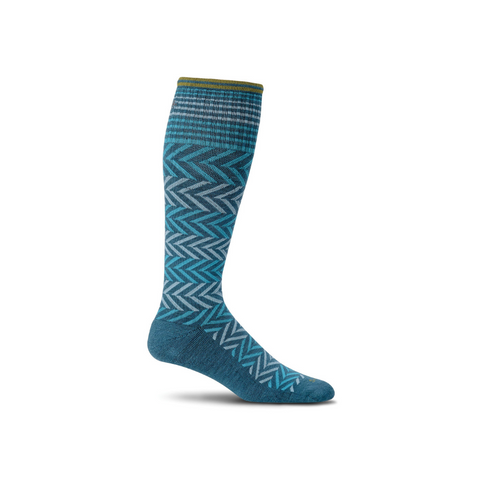 Women's Teal Chevron Compression Socks
