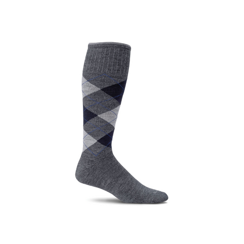 Men's Charcoal Argyle Compression Socks
