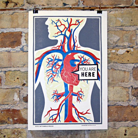 You Are Here Letterpress Print