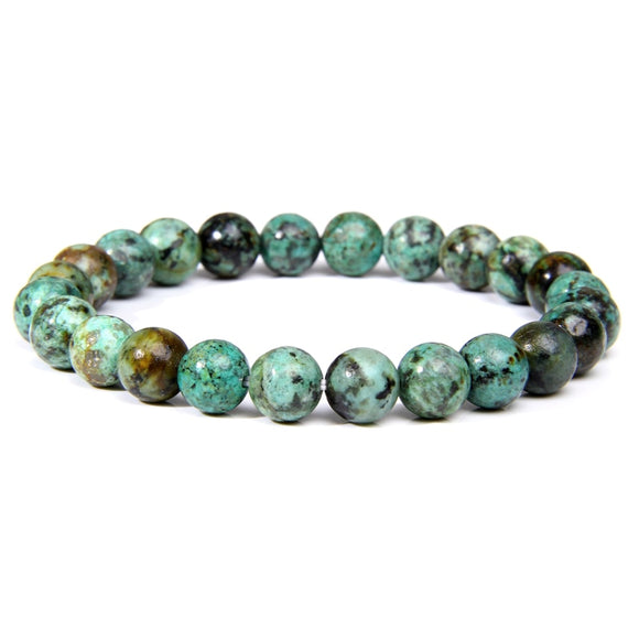 Handmade Natural Stone African Turquoises Beads Bracelet Women Or Men Yoga Mala Jewelry Green Moss Agates Beaded Bracelet for Women Men