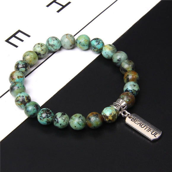 Natural African Turquoises Rectangle Words Beautiful Believe Protected Dream Unique Tag Charm Bracelet for Women Men Jewelry