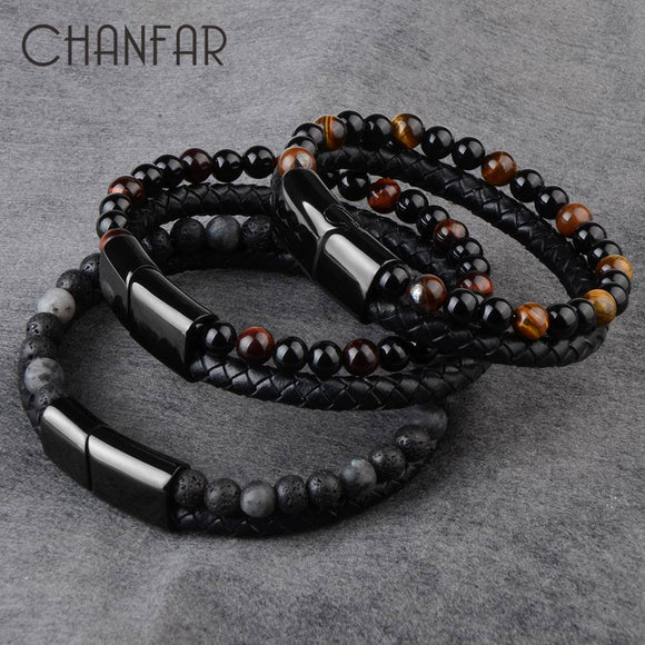 Men Jewelry Natural Stone, Genuine Leather Bracelet, Black Stainless Steel Magnetic Clasp