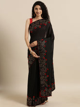 Load image into Gallery viewer, Black Trendy Swarovski Vichitra Silk Saree