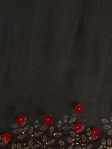 Black Trendy Swarovski Vichitra Silk Saree