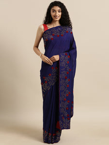 Navy Blue Trendy Swarovski Vichitra Silk Saree