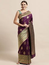 Load image into Gallery viewer, Wine Elegant Meena Work Katan Silk Saree